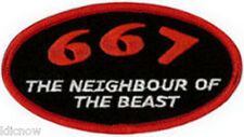 "667 The Neighbour of the Beast Embroidered Patch 10CM X 5.5CM (4"" X 2 1/4"")"