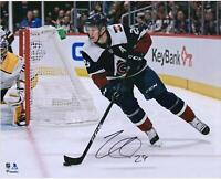 "Nathan MacKinnon Colorado Avalanche Signed 16"" x 20"" Navy Jersey Skating Photo"