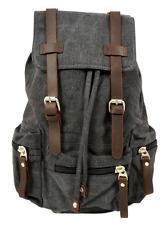 "Vintage Style Canvas 13"" Laptop Notebook Backpack Rucksack Unisex - Charcoal"