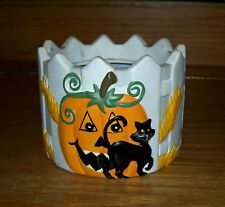 Ceramic Pottery Jack-O-Lantern Pumpkin Black Cat Planter Candle Holder Halloween