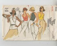 Vogue 8599 Misses Halter Tops Blouses Semi-fitted Sewing Pattern 14 Uncut