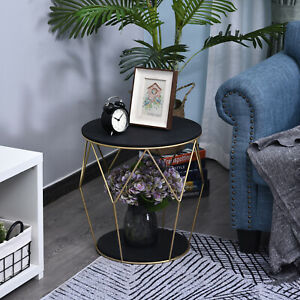 HOMCOM Wood Metal Coffee Round Table W/ Storage Sofa End Side Coffee Table Φ45cm