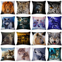 Cushion Cover Throw Cotton Linen 3D Animal Pillow Case Sofa Bed Car Owl Wolf