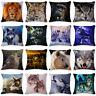 Cushion Cover Throw Cotton Linen 3D Animal Pillow Case Sofa Bed Car Owl Wolf