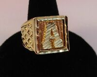 MENS 14KT GOLD EP BLING  LETTER A INITIAL HIP HOP RING -SIZES 8-13