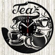 Tea Time Vinyl Record Wall Clock Decor Handmade 1608