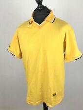Caterpillar CAT Yellow Polo Shirt Men's Size M 100% Cotton Short Sleeve V-Neck