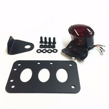 Black Horizontal Vertical Side Mount License Plate Bracket Taillight For Harley