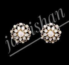 Slice Polki Pave Diamond Earrings 925 Sterling Silver Gorgeous Women Jewelry
