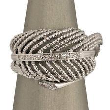 Estate 14K White Gold Diamond Feather Fashion Ring Size 7