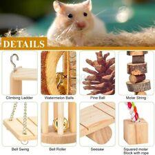Us Set Wooden Rabbit Hamster Guinea Pig Bite Molar Hammock Toy Pet Hanging Swing