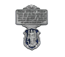 Police Officer's Visor Clip with a Blue St. Michael Medal and 3 Prayer Cards