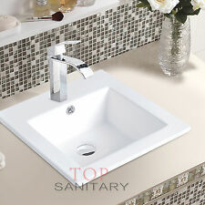 Bathroom Ceramic Rectangular Undermount Insert Basin Sink White for Vanity Unit