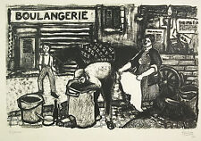 Raymond THIOLLIERE Choffonniers & boulangerie Bakery gravure bois c1925 66 cm