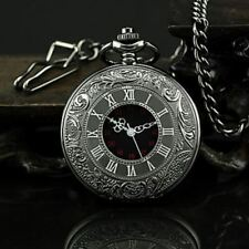 Antique Mechanical Skeleton Steampunk Mens Pocket Watch Open Case Chain Black