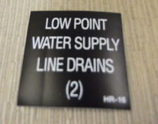 "RV Safety Decal ""Low Point Water Supply Line Drains""  #HR-16 UPC:710534473927"