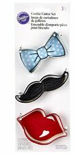 Wilton 3 Pieces TIE MUSTACHE LIPS Cookies Cutter Cake Party Fun Metal Decorating