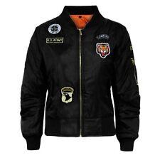 Girls Boys Children Ma1 Badges Bomber Jacket Kids Coat Army Military Padded 7-13 Age 13 Black
