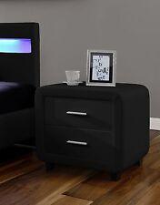 Harmin Black Faux Leather DESIGNER Bedside Table Cabinet Night Stand