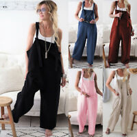 Womens Ladies Casual Romper Sleeveless Dungarees Playsuit Overalls Cami Jumpsuit