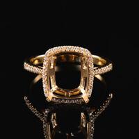Natural Diamond Semi Mount Ring Setting Cushion Cut 8×10mm Solid 14K Yellow Gold