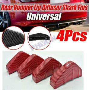4Pcs Car Rear Bumper Lips Diffuser Carbon Fiber Shark Fin Style Protector Lips