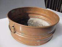 Vintage Copper Trough Tub Planter Plant Pot Antique Round Brass Handles Old Urn