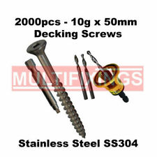 2000pcs - 10g x 50mm Stainless Steel 304 Decking Screws + Clever Tool