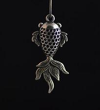 3pcs Antique Silver Hollow Out Goldfish Charms Pendants Findings 21*47mm