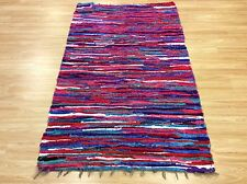 Pink Multi Colour Handwoven Rag Rug Funky Recycled Mix Textures 110x180cm 50 off