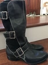 Corso Como Black Leather Moto Boots Size 8 EUC