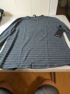 LULULEMON Mens L Large gray striped 5 Five Year Basic LS Long Sleeve T Shirt new