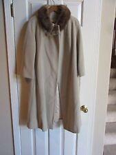 Vtg 50s-60s Tan  Wool Coat w/Fur Mink Collar Beige Cream Dressy Long 3/4 Sleeve