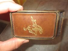 Vintage RODEO RIDER on HORSE Bucking BRONCO Cowboy Belt Buckle  FREE SHIPPING !