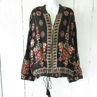 New Angie Bomber Jacket 1X Black Floral Boho Peasant Plus Size