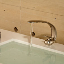 """8"""" Bathroom Sink Faucets Brushed Nickel One Hole/Handle Lavatory Mixer Taps"""