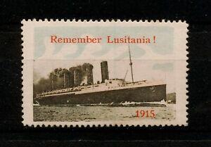 ✔️ (YYBD 555) GB 1915 MH Remember Lusitania, Ship WWI British Propaganda Stamp