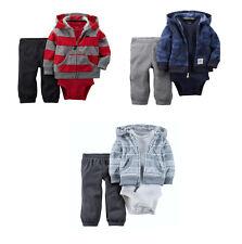 Carter's Baby Infant Boys 3-PC Fleece Hooded Cardigan Bodysuit Pants Set NWT