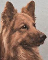 John Silver Original Oil Painting - German Shepherd Dog Portrait (British Art)