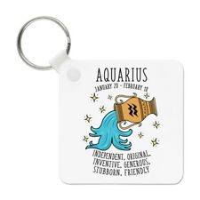Aquarius Horoscope Keyring Key Chain - Star Sign Zodiac Birthday Astrology