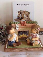 Goebel NINA & MARCO vor Kamin, warten auf Weihnachtsmann ★ Limitiert RARITÄT OVP