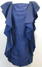 ROBERT RODRIGUEZ Blue Cotton and Silk Sleeveless Dress/ Ruffle Accent Size 2