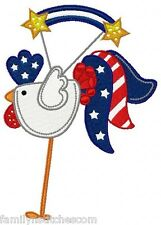 4th of July Patchy Roosters 10 Machine Embroidery Designs on CD in 4 sizes