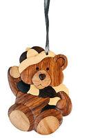 Winter Bear - Double-sided Wood Intarsia Christmas Tree Ornament - Bear theme