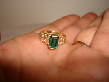 VINTAGE COLLECTIBLE 14K GOLD EMERALD CUT GREEN TOURMALINE DIAMOND RING SIZE 7.75