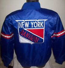 NEW YOR RANGERS NHL STARTER Satin Jacket Rangers Logos LARGE, XL  BLUE