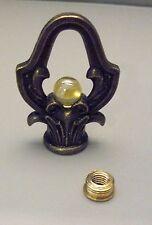"""Lamp or Clock Crown Loop Finial 1/8"""" IPS (3/8"""" Dia.) 10 mm  Pee Wee Amber Marble"""