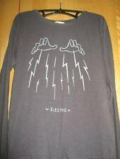 T- Shirt - Langarm -  Anthrazit mit Druck - Gr. 164