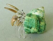 Hermit crab green Shell Ornement Or Peint Verre Clair mer marin océan cadeau