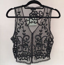 Topshop Embroidered Top Size 10 Black Lace Mesh Waistcoat Cami Boho Festival